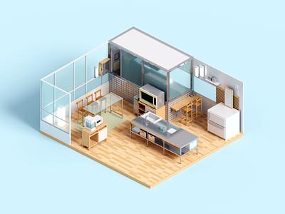 Modern Kitchen room modern kitchen interior architecture minimal render voxel 3d illustration