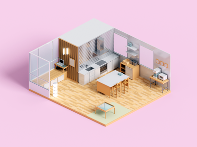 Kitchen Decor voxelart room kitchen render minimal voxel 3d illustration