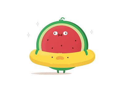 Summer cartoon food floatie watermelon fruit summer illustration