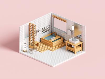 Bathhouse bathroom bathhouse bath interior architecture minimal render 3d voxel illustration
