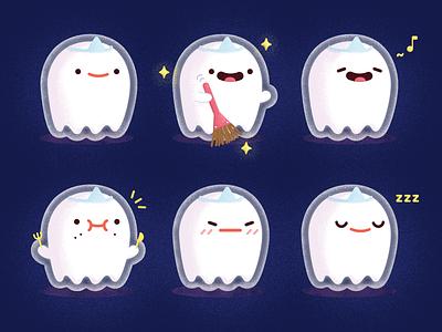 👻 cartoon sticker ghost illustration
