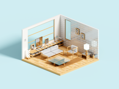 Modernity voxel interior architecture voxelart minimal render 3d illustration