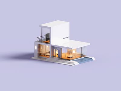 Villa minimalism minimal architecture render voxel 3d illustration