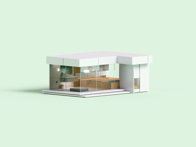 Grid minimal architecture voxelart render voxel 3d illustration