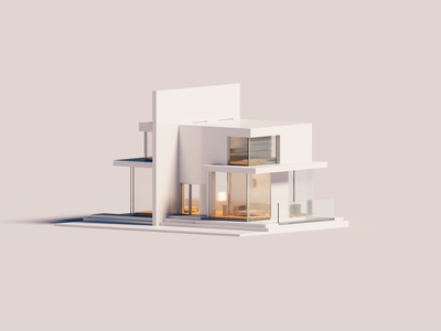 Neutral house architecture voxelart minimal render voxel 3d illustration