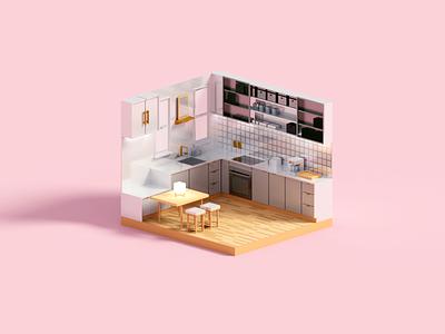 Kitchenette room interior kitchen minimal voxel render 3d illustration