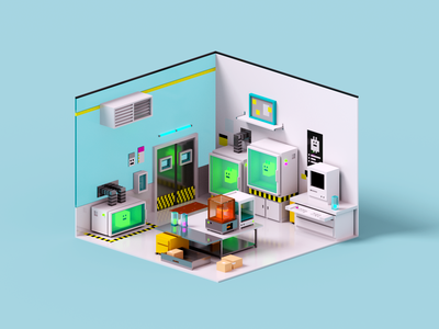 Makerspace magicavoxel creature alien makerspace lab voxelart render voxel 3d illustration