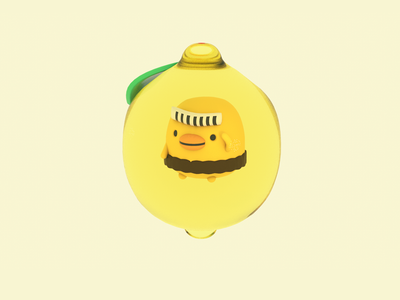 Lemon Bird 3dart c4d animal bird lemon cute render 3d illustration