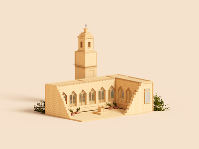 Pater Noster magicavoxel voxelart miniature prayer church architecture voxel 3d illustration