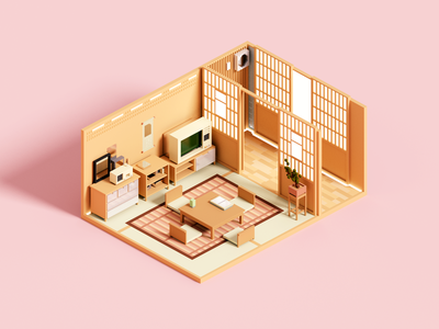 Tea Room zen tea japan interior room architecture voxelart minimal render voxel 3d illustration
