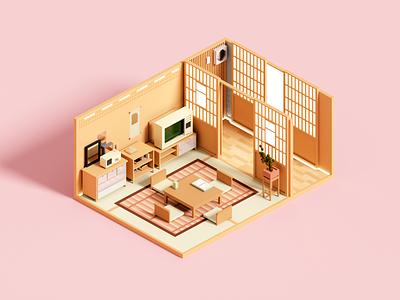 Tea House zen tea japan interior room architecture voxelart minimal render voxel 3d illustration
