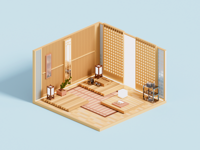 Sanctuary zen japan magicavoxel room isometric architecture voxelart minimal render voxel 3d illustration