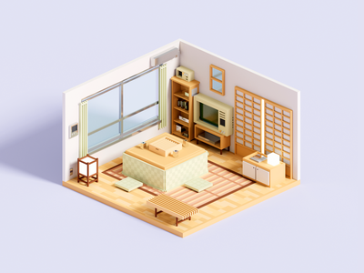 Kotatsu japanese room minimalist kotatsu japan interior isometric voxelart minimal render voxel 3d illustration