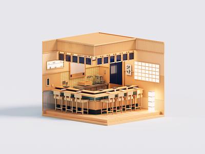 Sushi Dreams dreams jiro sushi magicavoxel architecture voxelart voxel 3d illustration