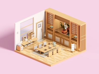 Ginza magicavoxel room architecture voxelart minimal render voxel 3d illustration