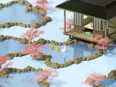 Lakeside japan blossom cherry duck magicavoxel voxelart voxel 3d illustration