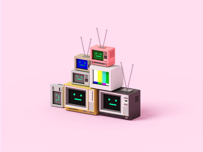 Binge magicavoxel screen television tv 3dart voxelart voxel 3d illustration