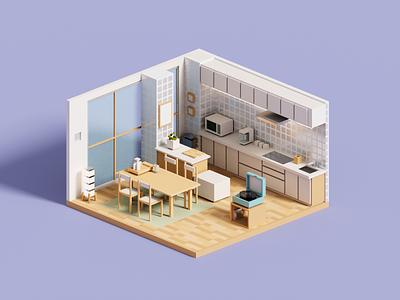 Record record kitchen 3d art magicavoxel voxelart minimal architecture voxel 3d illustration