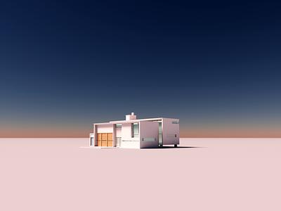 Dawn house dawn magicavoxel voxelart architecture minimal render voxel 3d illustration