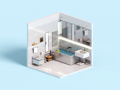 Tiles illustration tile toilet duck minimal isometric room 3d art magicavoxel washroom 3d voxelart voxel bathroom