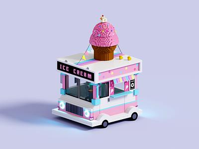 Ice Cream Truck truck ice cream truck ice cream magicavoxel voxelart render voxel 3d illustration