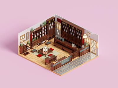Apothecary interior architecture 3dart apothecary voxelart render voxel 3d illustration