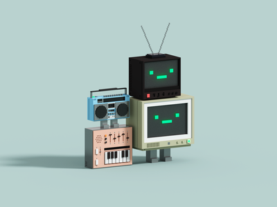 Tunes magicavoxel television stereo tv synth retro voxelart render voxel 3d illustration