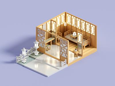 Inner Court chinese architecture minimal voxelart render 3d voxel illustration