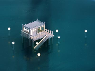 Seaside water ocean sea magicavoxel voxelart render voxel 3d illustration