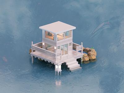 Beach House magicavoxel architecture voxelart render voxel 3d illustration