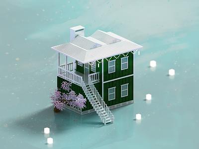 Tropical Green house green architecture minimal voxelart render voxel 3d illustration