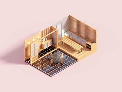 Tiled magicavoxel interior architecture minimal voxelart render 3d voxel illustration