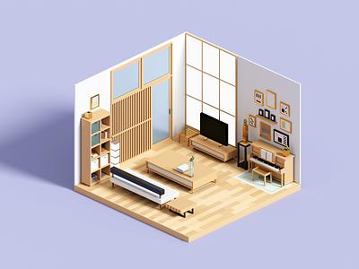 Cozy room interior 3dart architecture minimal voxelart render 3d voxel illustration