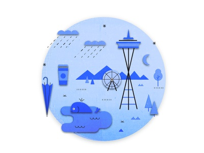 Seattle nature coffee rain space needle illustration seattle