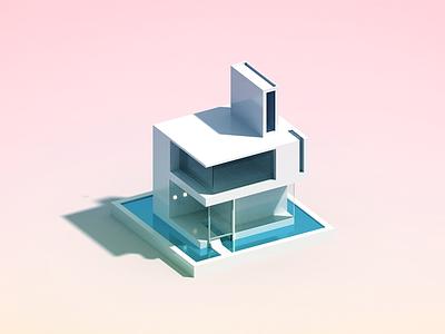 Minimal House voxelart architecture illustration voxel minimal house 3d