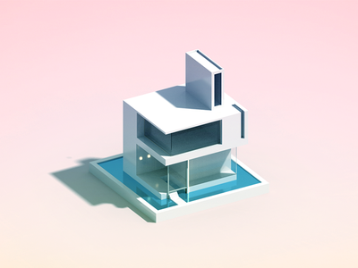 Minimal House voxelart architecture illustration voxel minimal house 3d