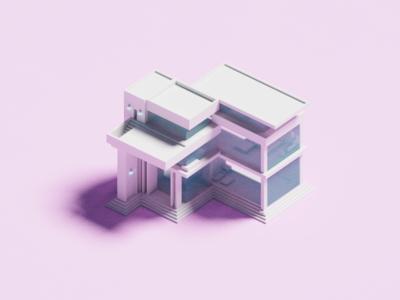 Minimal House architechture pastel modern house voxel 3d illustration minimal