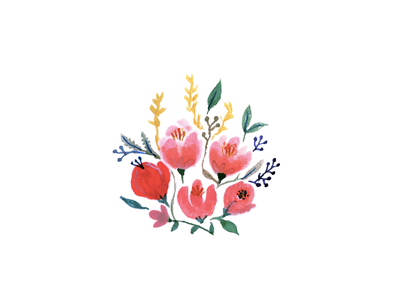 Mixed Flowers nature flower bouquet pink watercolor floral illustration