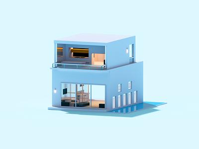 Mirrored v3 house minimal architecture voxel 3d illustration