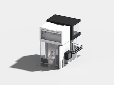 Cubic house minimal modern architecture voxel 3d illustration