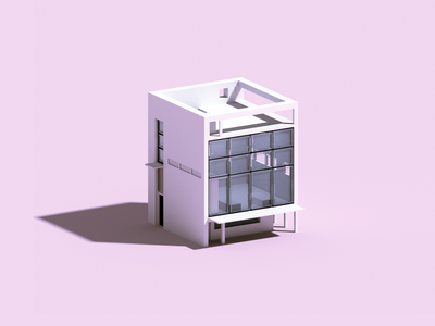 Quatras voxelart architecture house voxel 3d illustration
