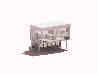 Lattice voxelart house voxel 3d illustration