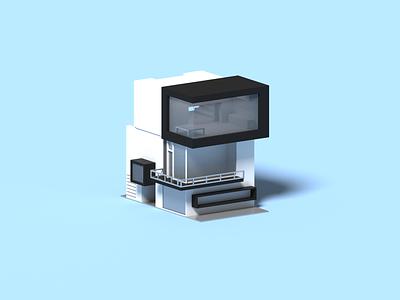 Cubic II minimal architecture house voxel 3d illustration