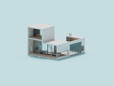 Prism architecture minimal house illustration voxel 3d