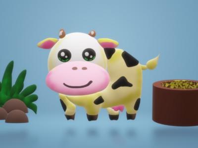 3d 🐄 cow