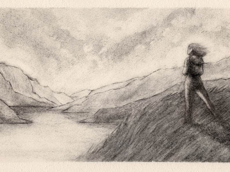 Hilltop charcoaldrawing commission charcoal drawing illustration