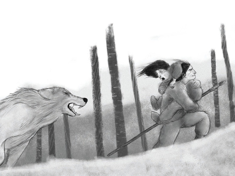 Fear in the forest blackandwhite wolf panic fear adobe photoshop digital illustration childrens illustration book illustration