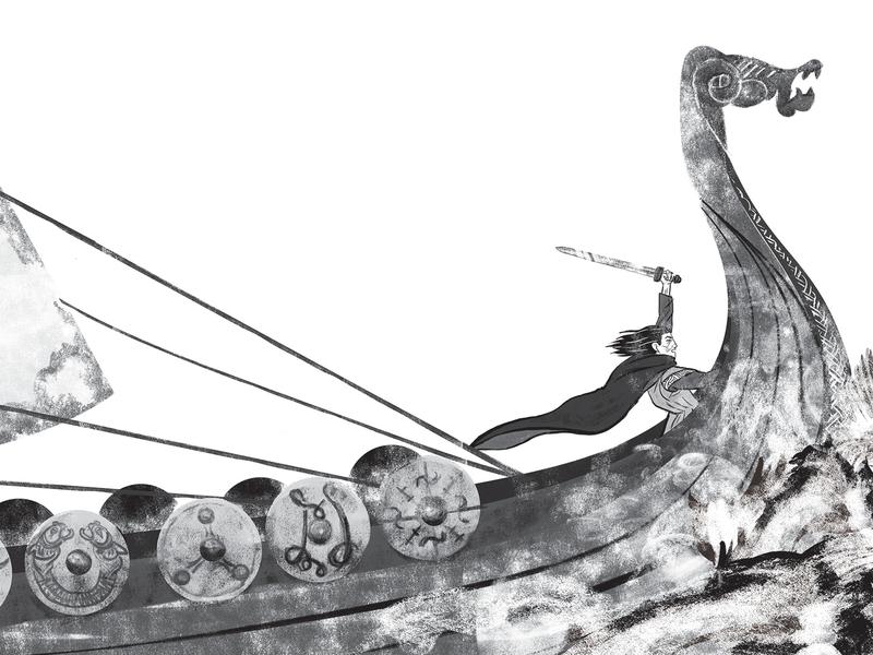 Commander Olafur vikings fiction childrens book adobe photoshop blackandwhite digital illustration childrens illustration illustration