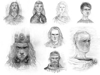 Various legendary character portraits character design characters drawing blackandwhite book childrens illustration illustration