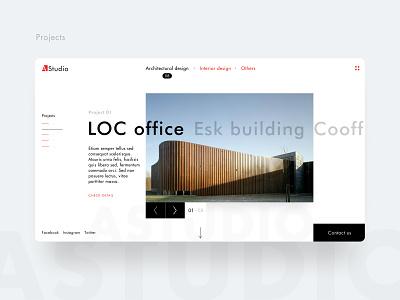 Detail pages of AStudio typography studio minimalism logo clean ui homepage webflow architechture design web branding